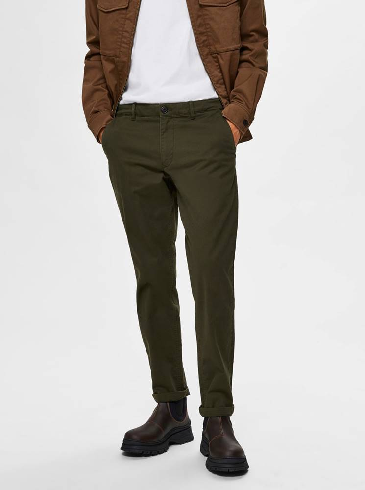 Selected Homme Tmavozelené chino nohavice Selected Homme New Paris